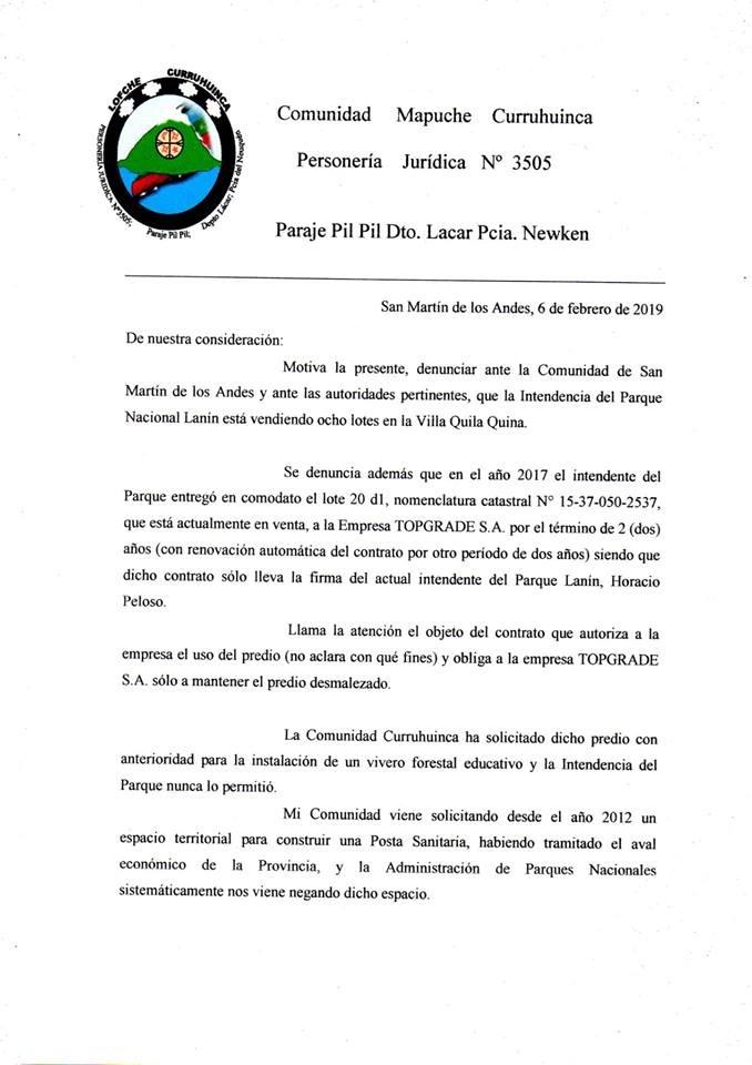 comunicado comunidad mapuche curruhuinca